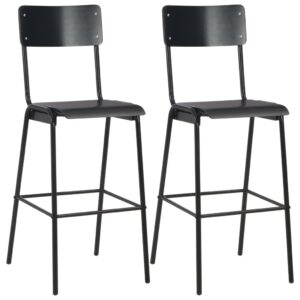 vidaXL Bar Chairs 2 pcs Black Solid Plywood Steel