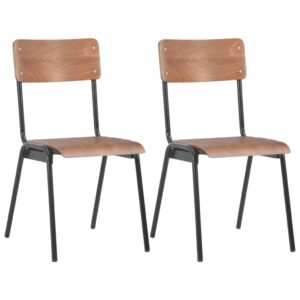 vidaXL Dining Chairs 2 pcs Brown Solid Plywood Steel