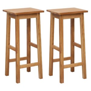 vidaXL Bar Chairs 2 pcs Solid Oak Wood