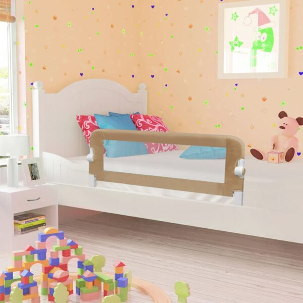 vidaXL Toddler Safety Bed Rail Taupe 102×42 cm Polyester