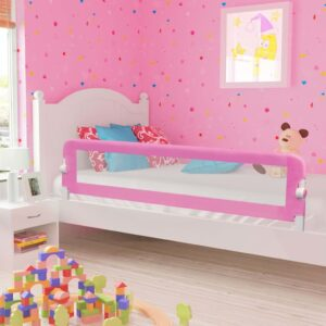 vidaXL Toddler Safety Bed Rail Pink 180×42 cm Polyester