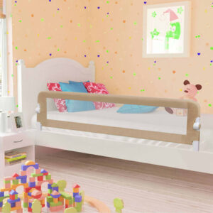 vidaXL Toddler Safety Bed Rail Taupe 180×42 cm Polyester