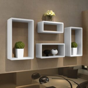 Cuboid shelf set of 4 White