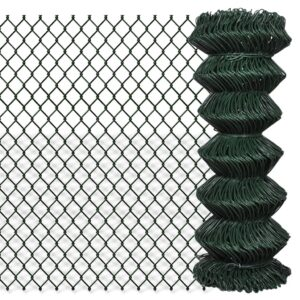 vidaXL Chain Link Fence Galvanised Steel 1×15 m Green