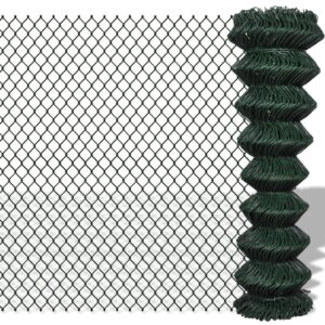 vidaXL Chain Link Fence Galvanised Steel 1.5×15 m Green