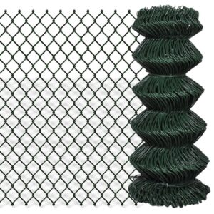 vidaXL Chain Link Fence Galvanised Steel 0.8×25 m Green