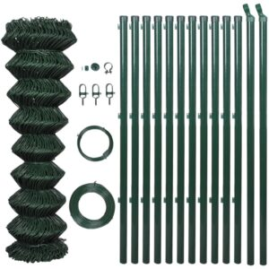 vidaXL Chain Link Fence with Posts Galvanised Steel 1.25×25 m Green