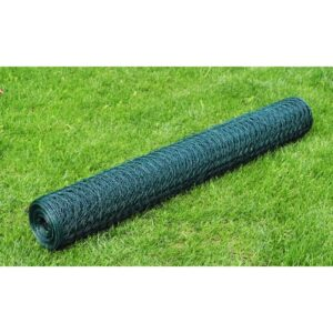 vidaXL Chicken Wire Fence Galvanised with PVC Coating 25×1 m Green