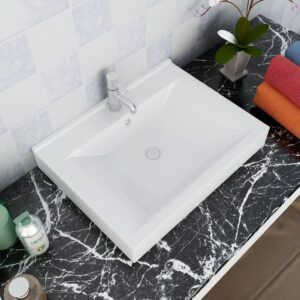 Rectangular Ceramic Basin Sink White with Faucet Hole 60×46 cm