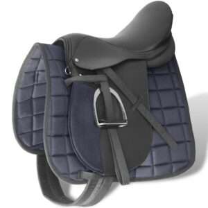 Horse Riding Saddle Set 16″ Real Leather Black 14 cm 5-in-1