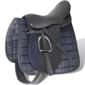 Horse Riding Saddle Set 17.5″ Real Leather Black 18 cm 5-in-1