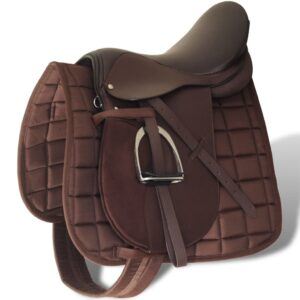 Horse Riding Saddle Set 17.5″ Real Leather Brown 12 cm 5-in-1