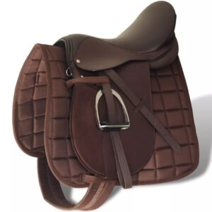 Horse Riding Saddle Set 17.5″ Real Leather Brown 18 cm