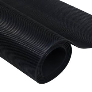 Rubber Floor Mat Anti-Slip 2 x 1 m Fine Ribbed