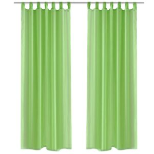 Apple Green Sheer Curtain 140 x 175 cm 2 pcs