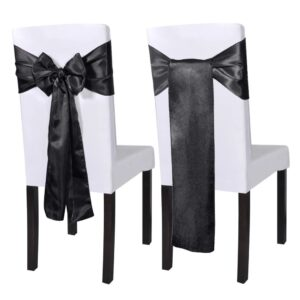25 pcs Black Satin Decorative Chair Sash