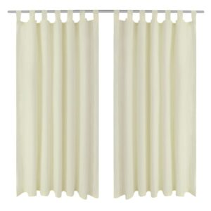 2 pcs Cream Micro-Satin Curtains with Loops 140 x 225 cm