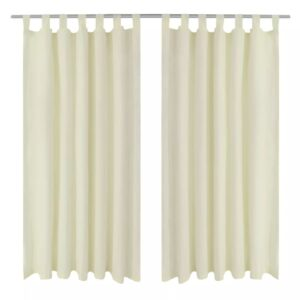 2 pcs Cream Micro-Satin Curtains with Loops 140 x 245 cm
