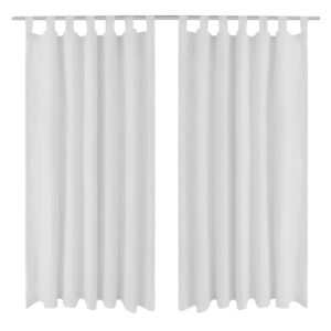 2 pcs White Micro-Satin Curtains with Loops 140 x 175 cm