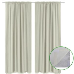 2 pcs Cream Energy-saving Blackout Curtains Double Layer 140 x 245 cm