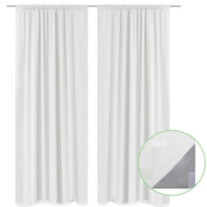 2 pcs White Energy-saving Blackout Curtains Double Layer 140 x 245 cm
