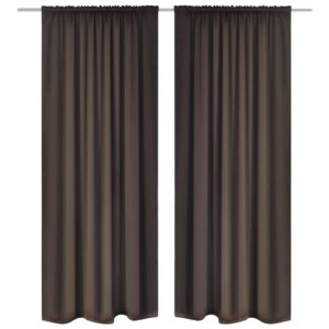2 pcs Brown Slot-Headed Blackout Curtains 135 x 245 cm