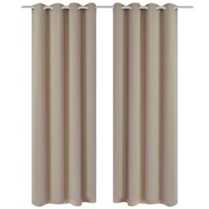 2 pcs Cream Blackout Curtains with Metal Rings 135 x 245 cm