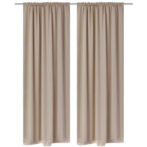 2 pcs Cream Slot-Headed Blackout Curtains 135 x 245 cm