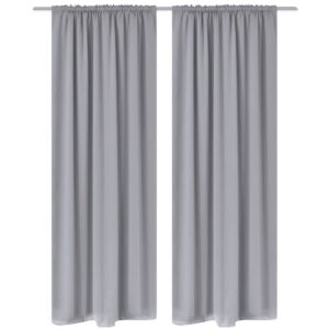 2 pcs Grey Slot-Headed Blackout Curtains 135 x 245 cm