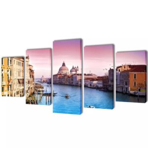 Canvas Wall Print Set Venice 100 x 50 cm