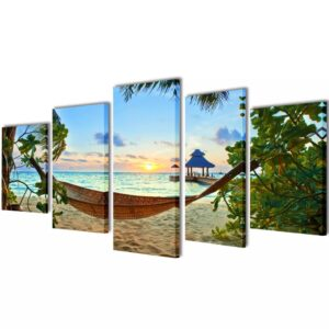 Canvas Wall Print Set Sand Beach with Hammock 100 x 50 cm