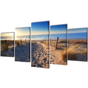 Canvas Wall Print Set Sand Beach 100 x 50 cm