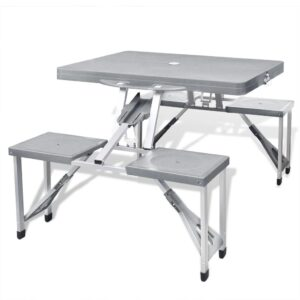 Foldable Camping Table Set with 4 Stools Aluminium Extra Light Grey