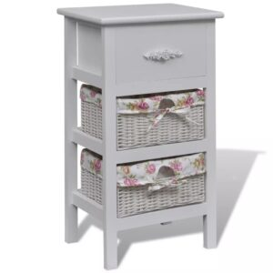 vidaXL Cabinet with 1 Drawer and 2 Baskets White Paulownia Wood