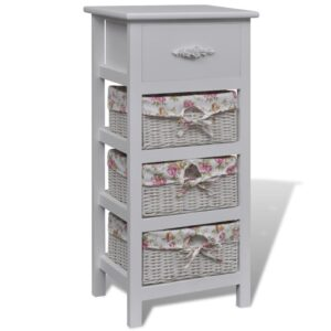 vidaXL Cabinet with 1 Drawer and 3 Baskets White Paulownia Wood