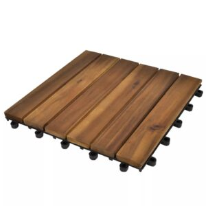 10 pcs Acacia Decking Tiles 30 x 30 cm Vertical Pattern