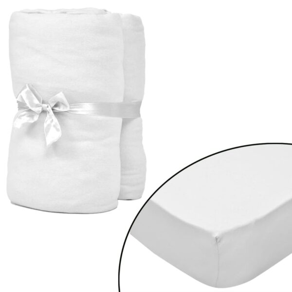 2 pcs Fitted Sheets for Mattress 180×200/200x220cm Cotton Jersey