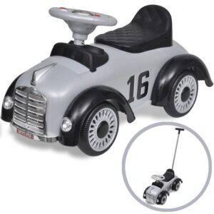 Grey Retro Children's Ride-on Car with Push bar