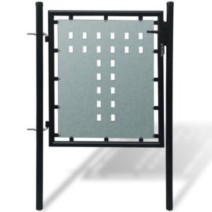 Black Single Door Fence Gate 100 x 125 cm