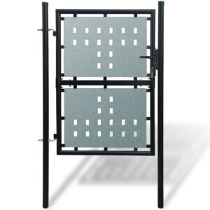 Black Single Door Fence Gate 100 x 200 cm