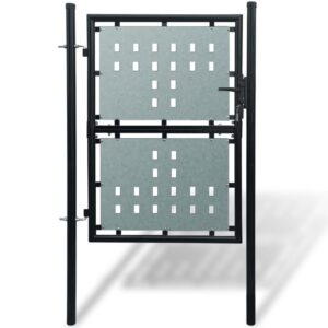 Black Single Door Fence Gate 100 x 225 cm