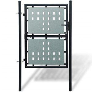 Black Single Door Fence Gate 100 x 250 cm