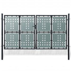 Black Double Door Fence Gate 300 x 250 cm