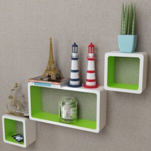3 White-green MDF Floating Wall Display Shelf Cubes Book/DVD Storage