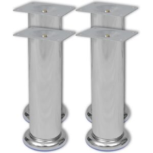 4 Round Sofa Legs Chrome 180 mm