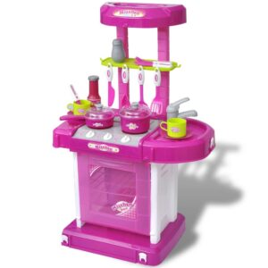 Kids/Children Playroom Toy Kitchen with Light/Sound Effects Pink