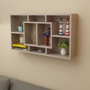 Floating Wall Display Shelf 8 Compartments Oak Colour