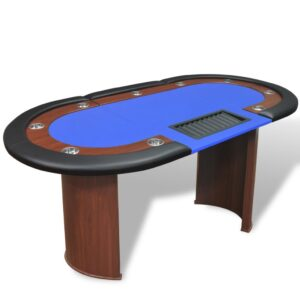 vidaXL 10-Player Poker Table with Dealer Area and Chip Tray Blue