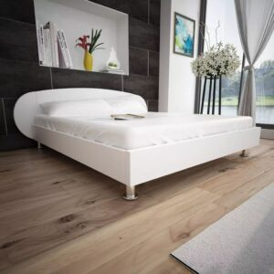 vidaXL Bed Frame 5FT King Size/150×200 cm Artificial Leather White