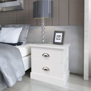 vidaXL French Bedside Cabinet White